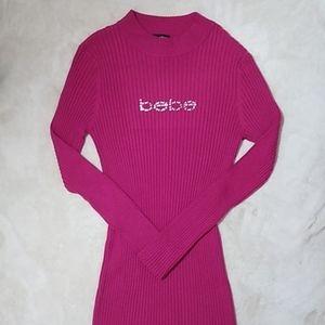 Bebe Logo Long-Sleeved Ribbed Sweater Midi Dress
